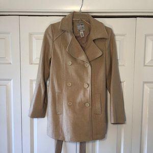 Tan Wool-blend Pea Coat